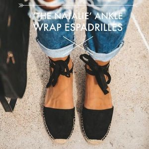 'The Natalie' Ankle Wrap Espadrilles In Black